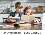 concentrated little brother and ... | Shutterstock . vector #1151230523