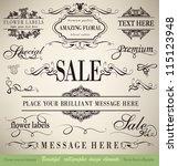 vector set  calligraphic floral ... | Shutterstock .eps vector #115123948