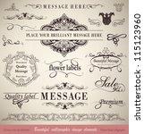 vector set  calligraphic floral ...   Shutterstock .eps vector #115123960