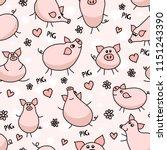 cute pig seamless pattern. | Shutterstock .eps vector #1151243390
