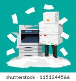 businessman in pile of papers.... | Shutterstock .eps vector #1151244566