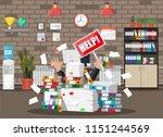 stressed businessman under pile ... | Shutterstock .eps vector #1151244569
