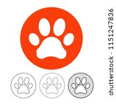 animal footprint icon vector | Shutterstock .eps vector #1151247836