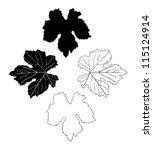 vine leaves drawn | Shutterstock .eps vector #115124914