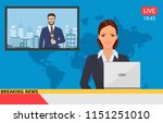 news anchor broadcasting the... | Shutterstock .eps vector #1151251010