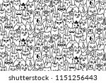 Stock vector cat faces vector seamless pattern and background 1151256443