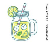 lemonade in mason jar mug with... | Shutterstock .eps vector #1151257943