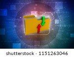 3d rendering folder with upload ... | Shutterstock . vector #1151263046