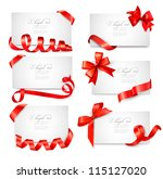 set of card notes with red gift ... | Shutterstock .eps vector #115127020