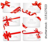 set of beautiful cards with red ... | Shutterstock .eps vector #115127023