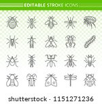 danger insect thin line icons... | Shutterstock .eps vector #1151271236