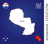 simple outline map of paraguay | Shutterstock .eps vector #1151271746