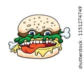creepy cute sandwich with meat  ... | Shutterstock .eps vector #1151274749
