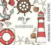 summer vintage nautical... | Shutterstock .eps vector #1151292740