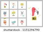 heads of cute animals... | Shutterstock .eps vector #1151296790