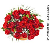 Stock photo big red roses bouquet isolated on the white background 115132399