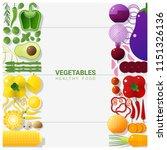 flat lay fresh vegetables... | Shutterstock .eps vector #1151326136