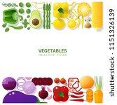flat lay fresh vegetables...   Shutterstock .eps vector #1151326139