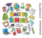 hand drawn back to school... | Shutterstock .eps vector #1151333753