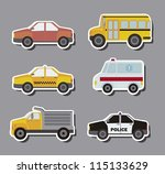stickers cars over gray... | Shutterstock .eps vector #115133629