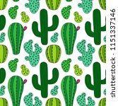 cute hand drawn cactus seamless ... | Shutterstock .eps vector #1151337146