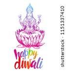 goddess lakshmi. diwali. hand... | Shutterstock .eps vector #1151337410