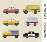 cute cars set  vintage style.... | Shutterstock .eps vector #115133920