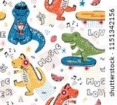 music lover dinosaur seamless... | Shutterstock .eps vector #1151342156