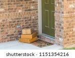 package delivery on doorstep.... | Shutterstock . vector #1151354216