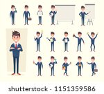 set of businessman showing... | Shutterstock .eps vector #1151359586