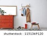 stylish hallway interior with... | Shutterstock . vector #1151369120