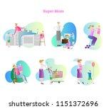 super mom vector illustration... | Shutterstock .eps vector #1151372696