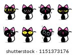 cute black cat characters with... | Shutterstock .eps vector #1151373176