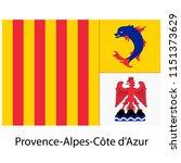 provence alpes cote d'azur flag ... | Shutterstock .eps vector #1151373629