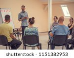 group of people listening to a...   Shutterstock . vector #1151382953