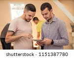 two man learning something new. ...   Shutterstock . vector #1151387780