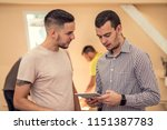two man learning something new. ...   Shutterstock . vector #1151387783