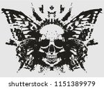 demon skull with butterfly...