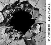 dark cracked broken hole in... | Shutterstock . vector #1151391536