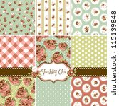 shabby chic rose patterns and... | Shutterstock .eps vector #115139848