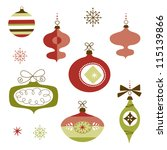 set of retro christmas ornaments | Shutterstock .eps vector #115139866