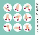 washing hands scheme steps...   Shutterstock .eps vector #1151400236