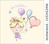 cute little blond girl flying...   Shutterstock .eps vector #1151412446
