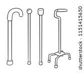 vector set of walking stick | Shutterstock .eps vector #1151415650