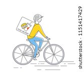 courier on bicycledelivering... | Shutterstock .eps vector #1151417429
