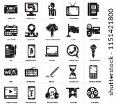 set of 25 icons such as film...