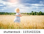 young cute girl child standing... | Shutterstock . vector #1151422226