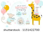 birthday invitation with cute... | Shutterstock .eps vector #1151422700