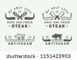 set of vintage butchery meat ... | Shutterstock .eps vector #1151423903