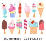 ice cream set. popsicles and... | Shutterstock . vector #1151431589